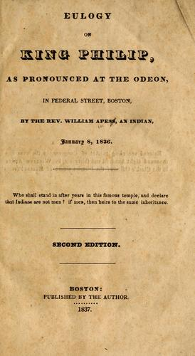 Eulogy on King Philip by William Apess