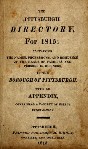 The Pittsburgh directory for 1815 by