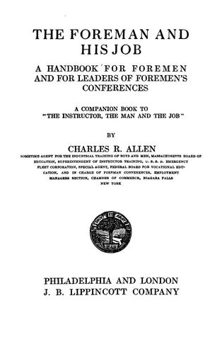 The foreman and his job by Allen, Charles R.