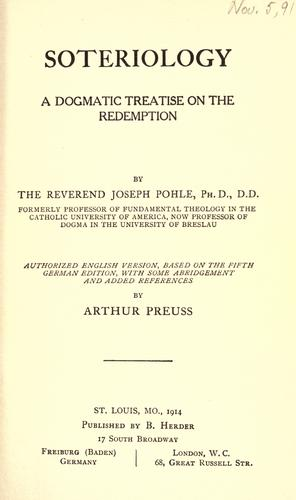Soteriology by Joseph Pohle