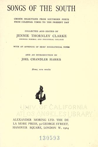 Songs of the South by Jennie Thornley Clarke