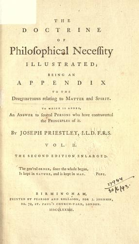 Disquisitions relating to matter and spirit by Priestley, Joseph