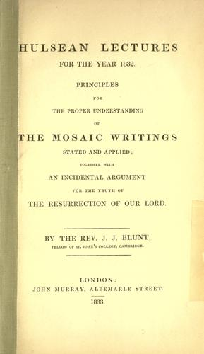 Principles for the proper understanding of the Mosaic writings by