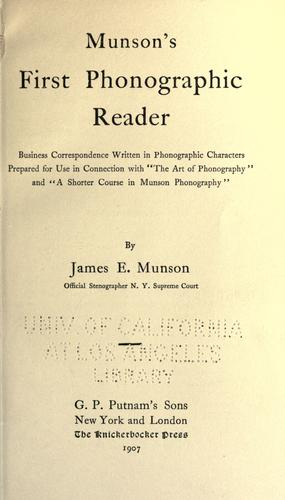 Munson's first phonographic reader by James Eugene Munson