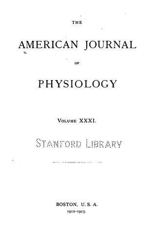 American Journal of Physiology by American Physiological Society (1887- ).