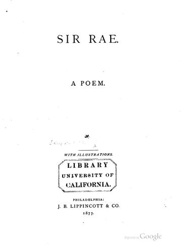 Sir Rae by Mary Bertha McKenzie Toland