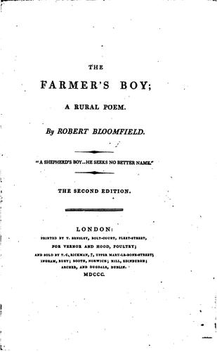 The farmer's boy; a rural poem [ed. by C. Lofft. On fine paper] by Robert Bloomfield