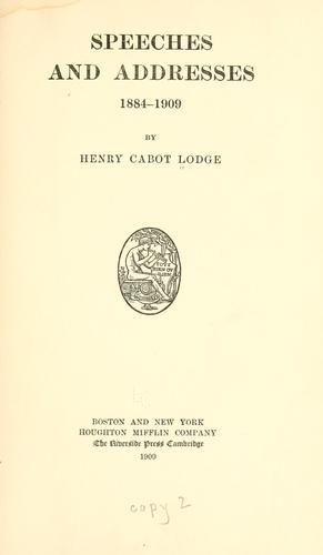 Speeches and addresses, 1884-1909