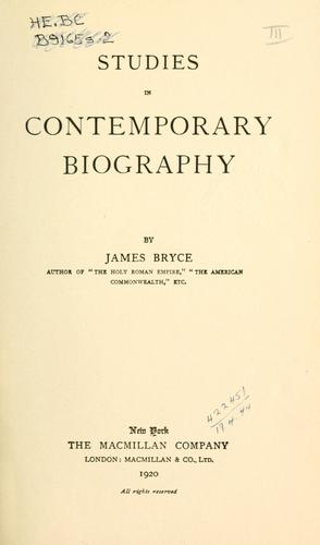 Studies in contemporary biography.