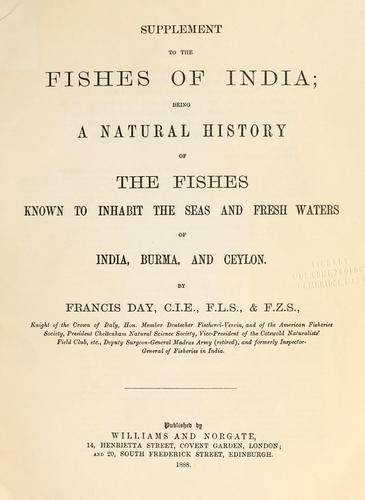 Supplement to The fishes of India by Francis Day