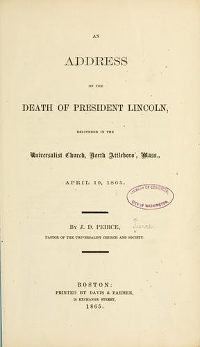 An address on the death of President Lincoln by Pierce, Joseph Dexter