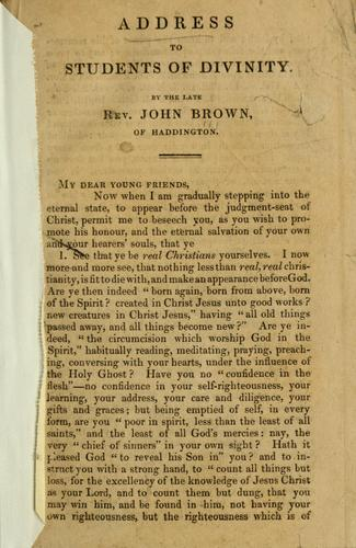 Address to students of divinity by Brown, John