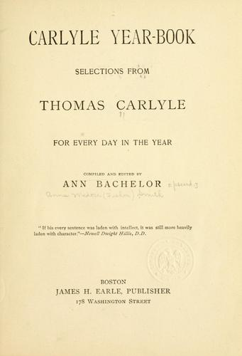 Carlyle year-book by Thomas Carlyle