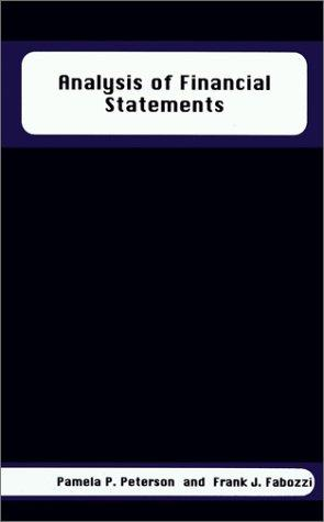 Analysis of Financial Statements by Frank J. Fabozzi