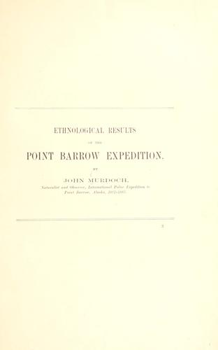 Ethnological results of the Point Barrow expedition by Murdoch, John