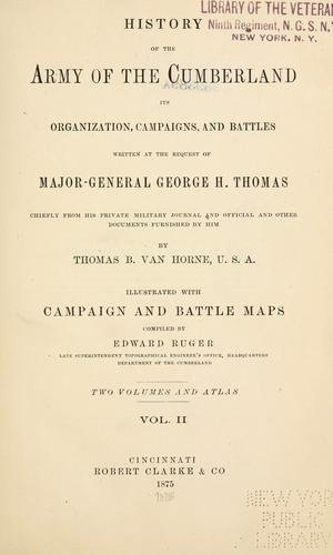 History of the Army of the Cumberland by Thomas B. Van Horne