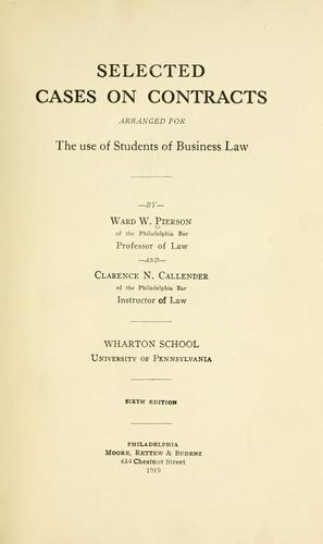 Selected cases on contracts by Ward Wright Pierson