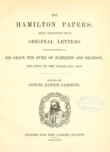 The Hamilton papers by Hamilton, James Hamilton Duke of