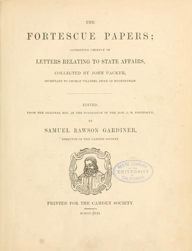 The Fortescue papers by G. M. Fortescue