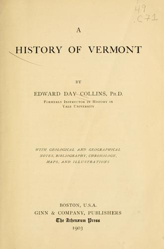 A history of Vermont by Edward Day Collins