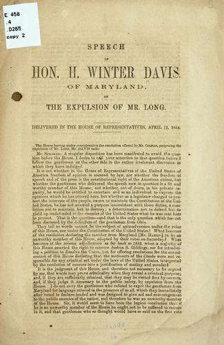 Speech of Hon. H. Winter Davis, of Maryland by Davis Henry Winter