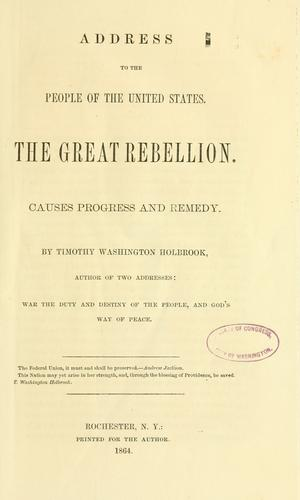 Address to the people of the United States by Timothy Washington Holbrook