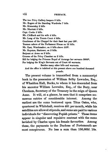 Moneys received and paid for secret service of Charles ll. and James ll. from 30th March, 1679, to 25th December, 1688 by Guy, Henry