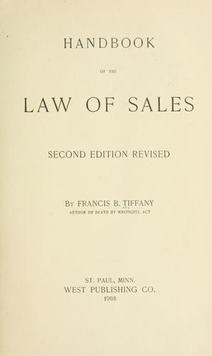 Handbook of the law of sales by Francis B. Tiffany