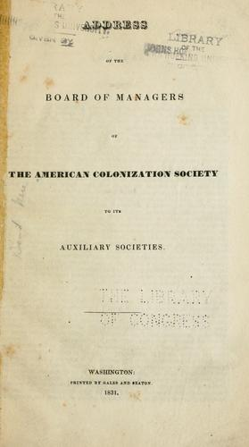 Address of the board of managers of the American colonization society by American colonization society
