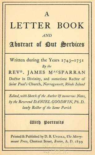 A letter book and abstract of out services