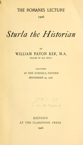 Sturla the historian by William Paton Ker
