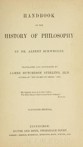 Handbook of the history of philosophy
