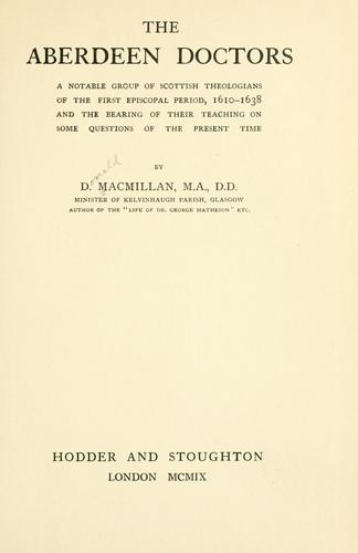 The Aberdeen doctors by Macmillan, Donald