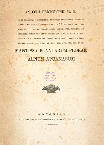 Mantissa plantarum florae Alpium Apuanarum by Antonio Bertoloni