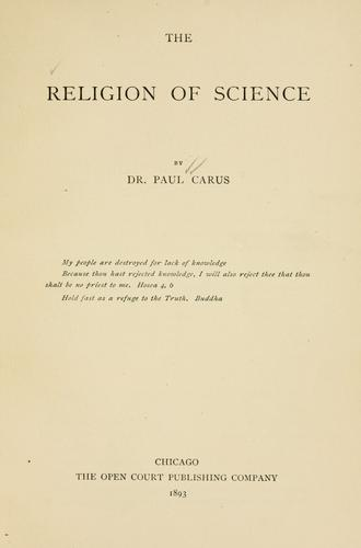 The religion of science by Paul Carus