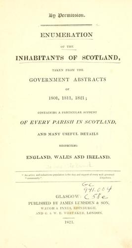 Enumeration of the inhabitants of Scotland by James Lumsden & Son.