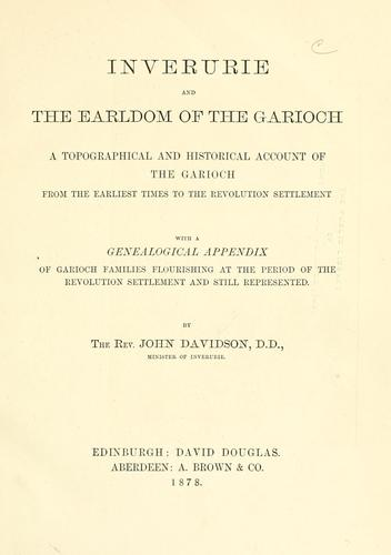 Inverurie and the earldom of the Garioch by Davidson, John Rev.