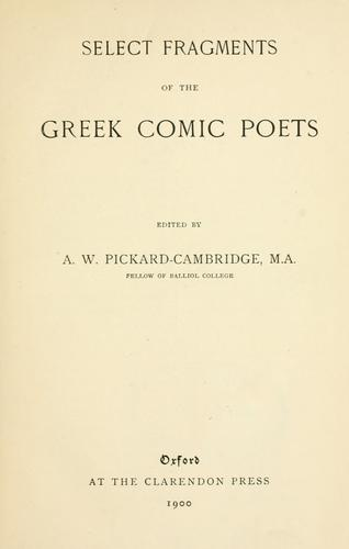 Select fragments of the Greek comic poets by Arthur W. Pickard-Cambridge