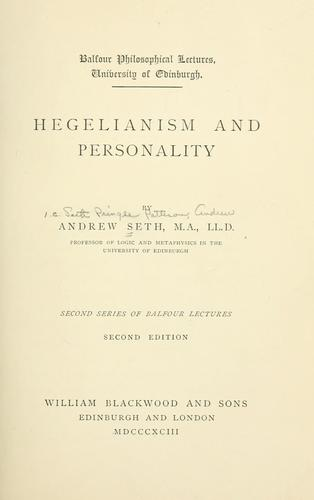 Hegelianism and personality