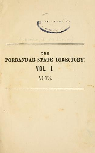 The Porbandar State directory by Porbandar, India (State)