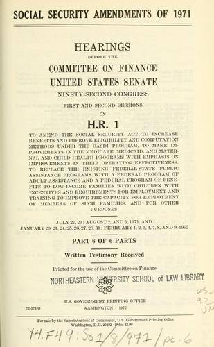 Social security amendments of 1971 by United States. Congress. Senate. Committee on Finance