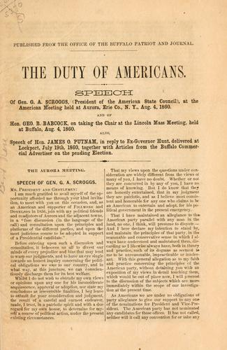 The duty of Americans by Gustavus Adolphus Scroggs