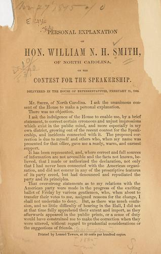 Personal explanation of Hon. William N. H. Smith, of North Carolina, on the contest for speakership by William Nathan Harrell Smith