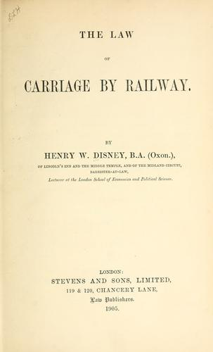 The law of carriage by railway.